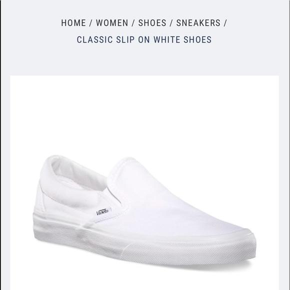 08431790a542b9 Pure White Vans Original Slip On Sneakers. M 5ae8d5d53800c548c18f26d5